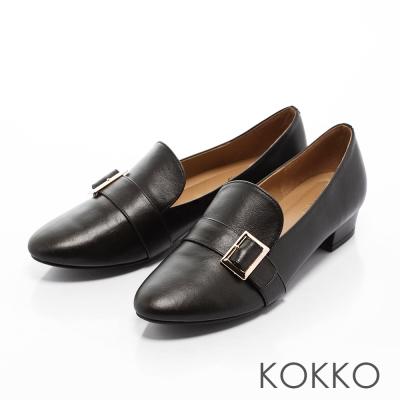 KOKKO-率性素面真皮彈力樂福跟鞋-黑