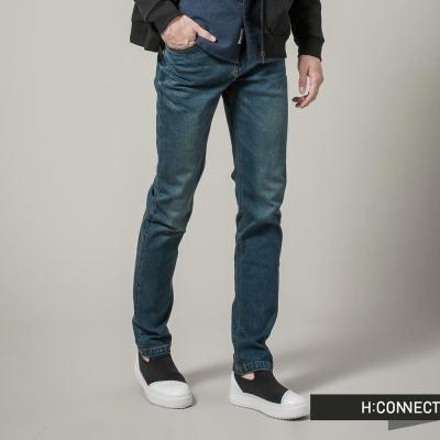 H-CONNECT-韓國品牌-男裝-微破損修身丹寧褲-深藍