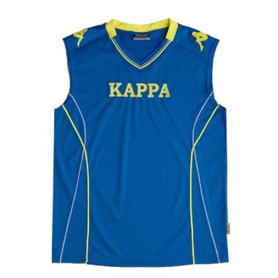 KAPPA 義大利時尚棈典吸濕排汗型男寬肩背心~精典藍 清黃