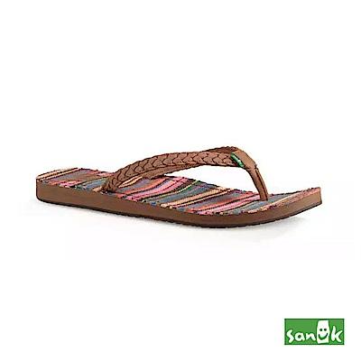 SANUK 繽紛條紋人字拖鞋-女款(粉色)