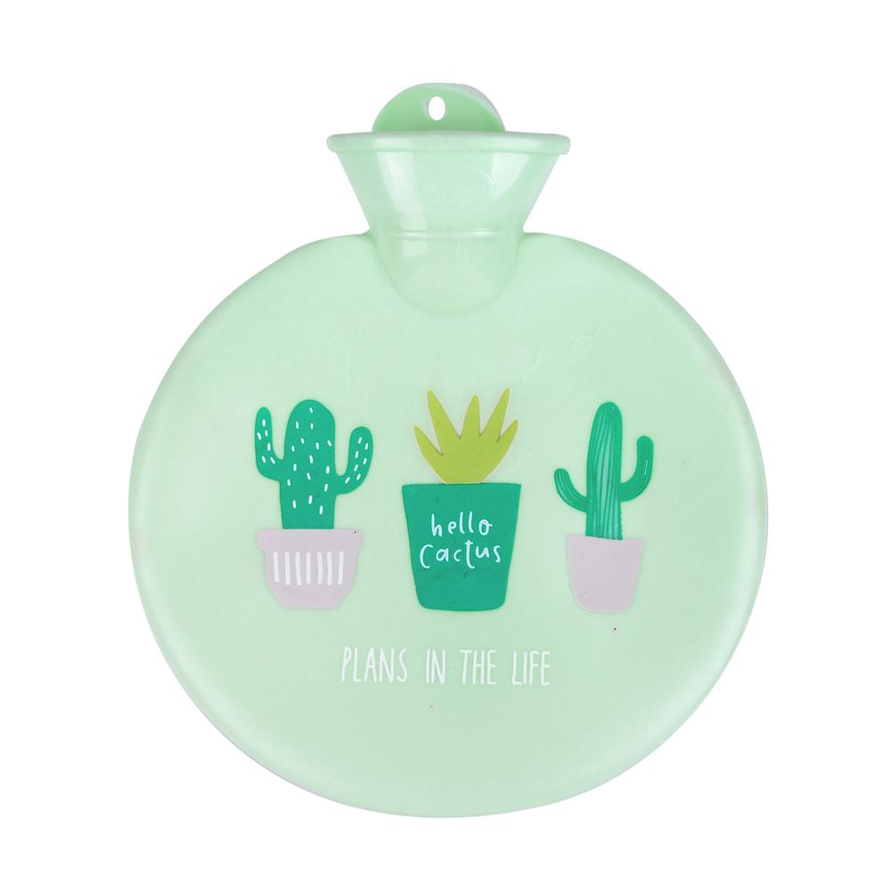 微甜馬卡龍保暖熱水袋/暖手袋 900ml (圓型-綠色仙人掌)