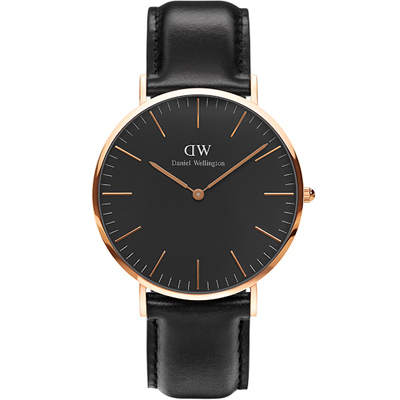DW Daniel Wellington classic經典真皮手錶-黑X玫瑰金/40mm