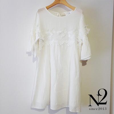 正韓 素色五分袖傘狀蕾絲花洋裝上衣(白) N2