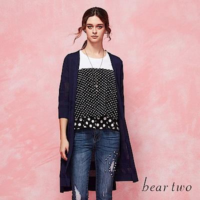 beartwo 清透感條紋長版針織外套(二色)