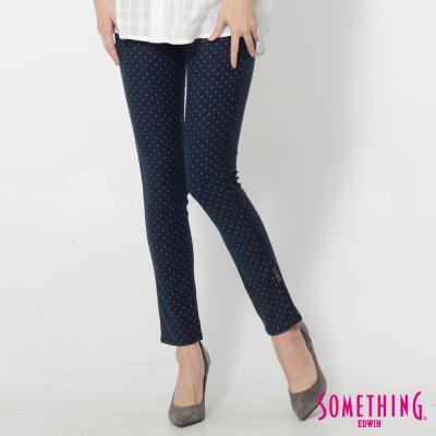 SOMETHING-LADIVA點點合身牛仔褲-女-藍色