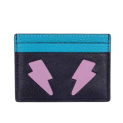 COACH EMOJI深藍粉紫閃電眼全皮雙面名片/票卡夾