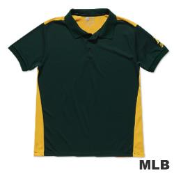 MLB-奧克蘭運動家隊修身撞色快排POLO衫-深綠(男)