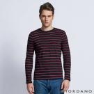 GIORDANO 男裝拼色條紋純棉磨毛圓領長袖T恤 - 26 標誌黑/紅色條紋
