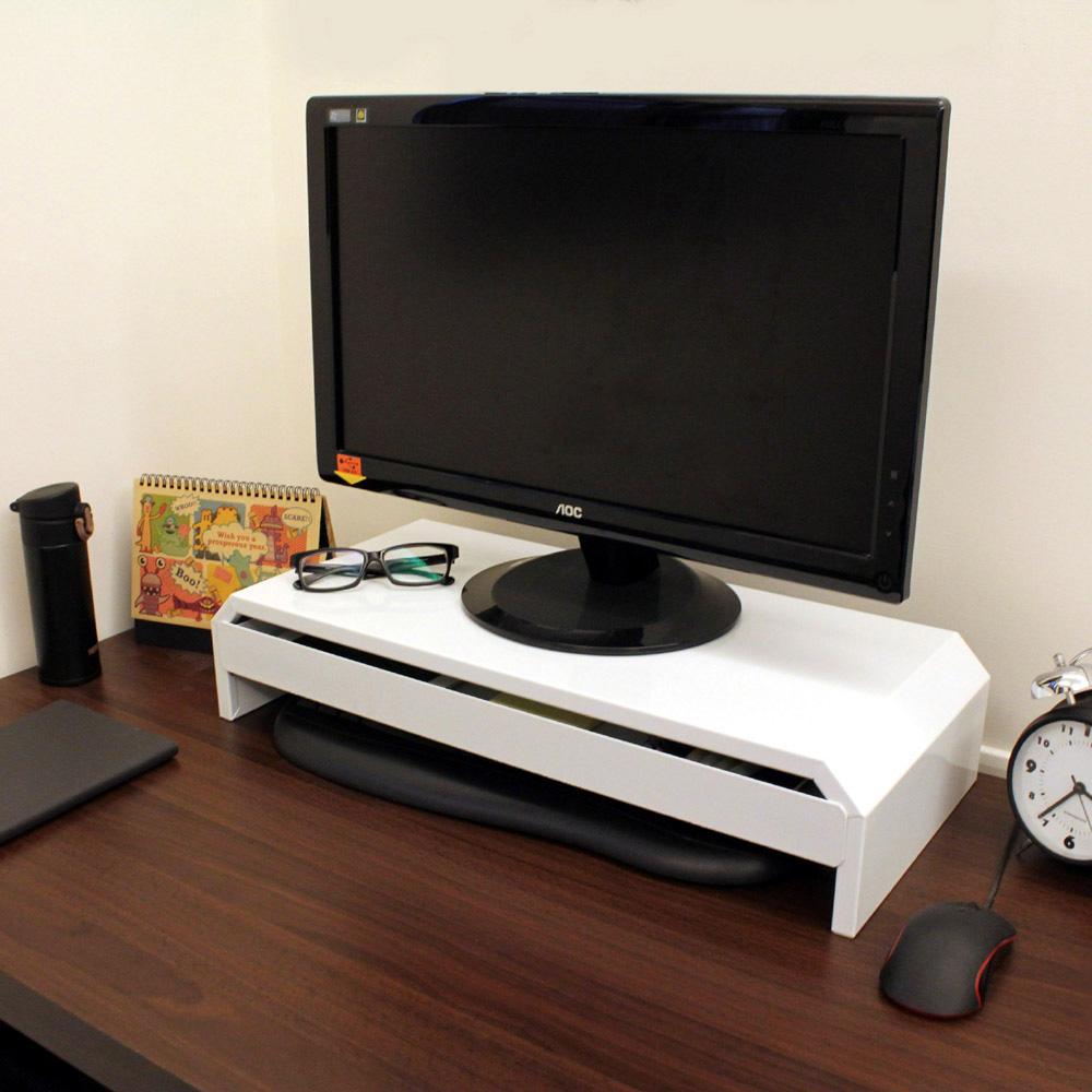 頂堅 鐵板製桌上型-抽屜-螢幕架/置物架(二色可選)