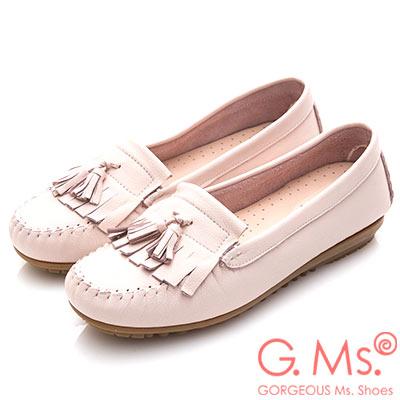 G.Ms. MIT系列-極好穿軟Q牛皮流蘇莫卡辛鞋-淡粉