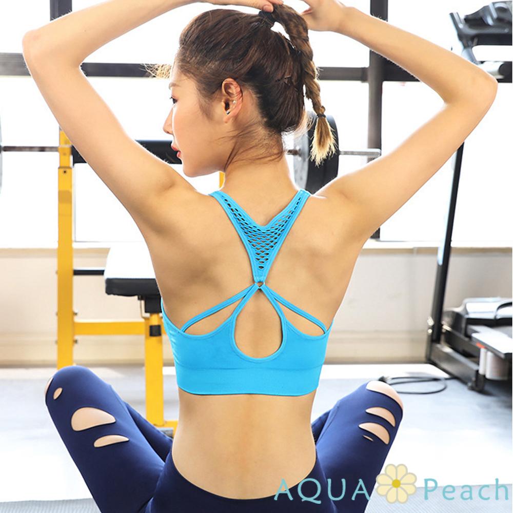 運動內衣 縷空美背透氣無鋼圈內衣 (藍色)-AQUA Peach