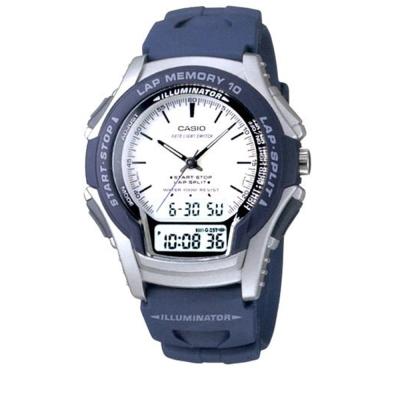 CASIO藍衣武士指針雙顯錶(WS-300-2E)-藍/白面/38mm