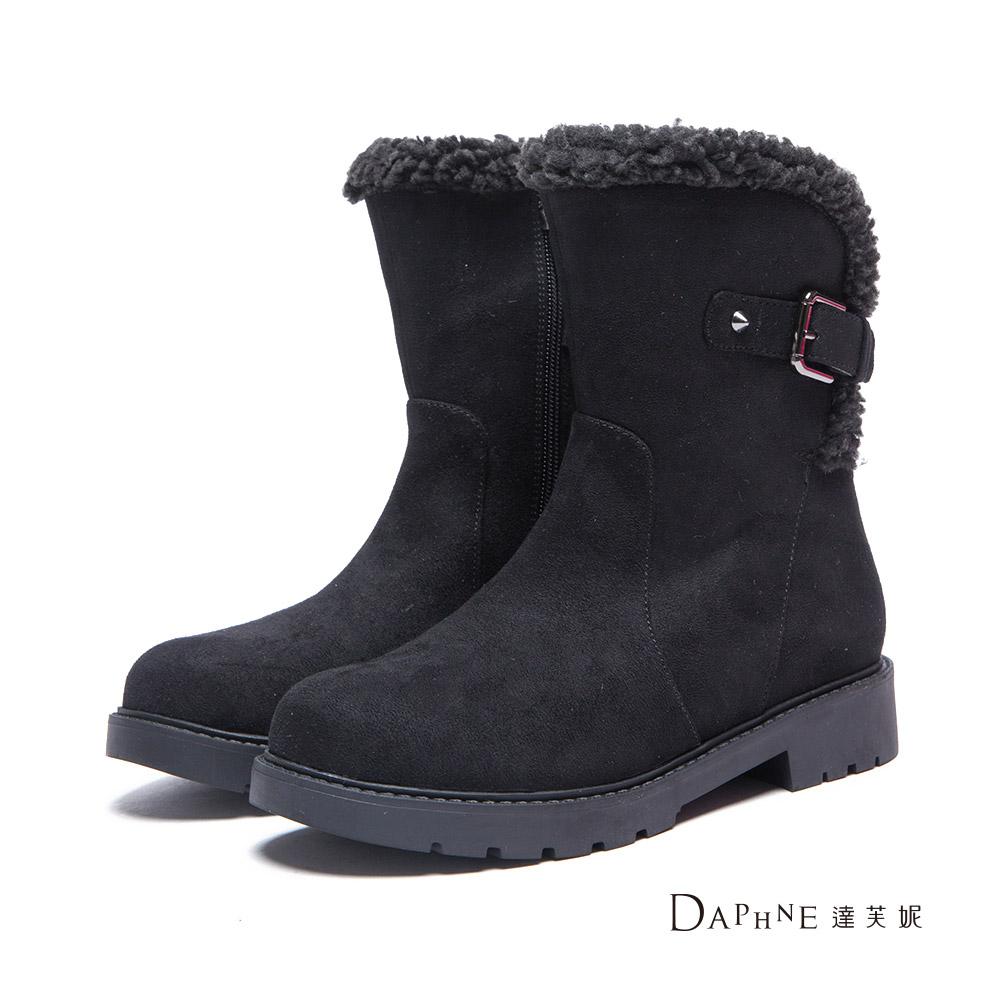 達芙妮DAPHNE 短靴-羔毛邊釦帶絨布工程短靴-黑