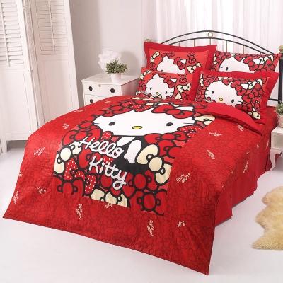 HELLO KITTY 我的Ribbon時尚系列-雙人純棉四件式床包薄被套組(紅)