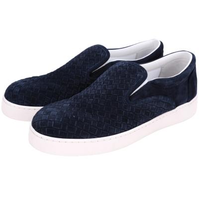 BOTTEGA VENETA Intrecciato 麂皮編織休閒鞋(深藍色)