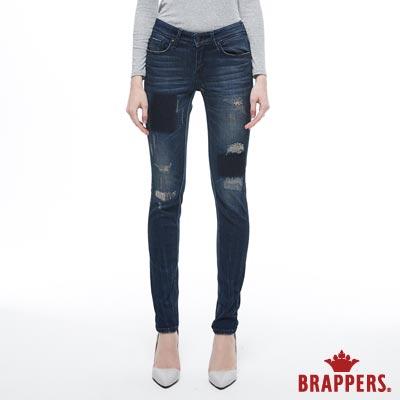 BRAPPERS 女款 新美腳ROYAL系列-中低腰彈性遮色磨破窄管褲-藍