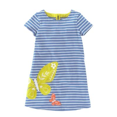 上衣 女童 條紋蝴蝶 歐美經典兒童純棉短袖T恤