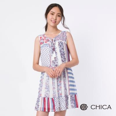 CHICA 繽紛夢幻星星花藝拼接魚尾洋裝(2色)