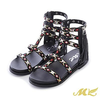 MK-民俗瘋系列-原住民織帶流蘇平底粗跟涼鞋-黑色