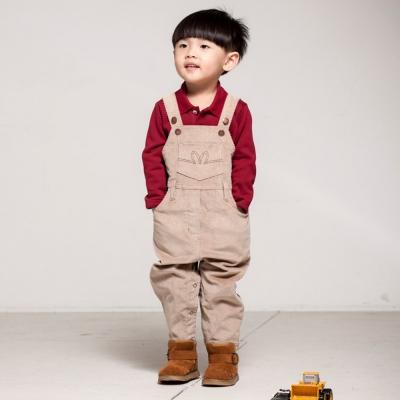 愛的世界 pappa&ciccia 彈性長袖吊帶褲套裝/1~3歲