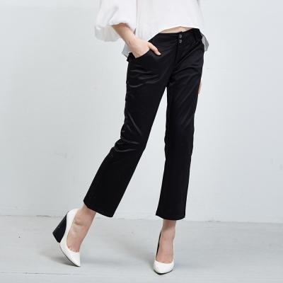 時尚簡約光澤感直筒長褲-黑(3色)