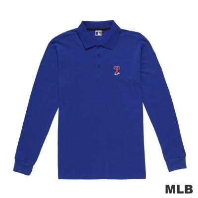 MLB-德州遊騎兵隊簡約休閒字母造型電繡polo衫-藍色(男)