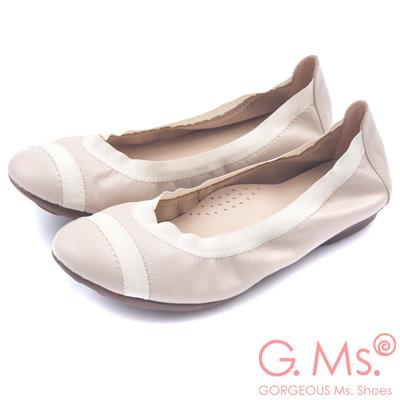 G.Ms. MIT系列-織帶拼接羊皮娃娃鞋-氣質杏