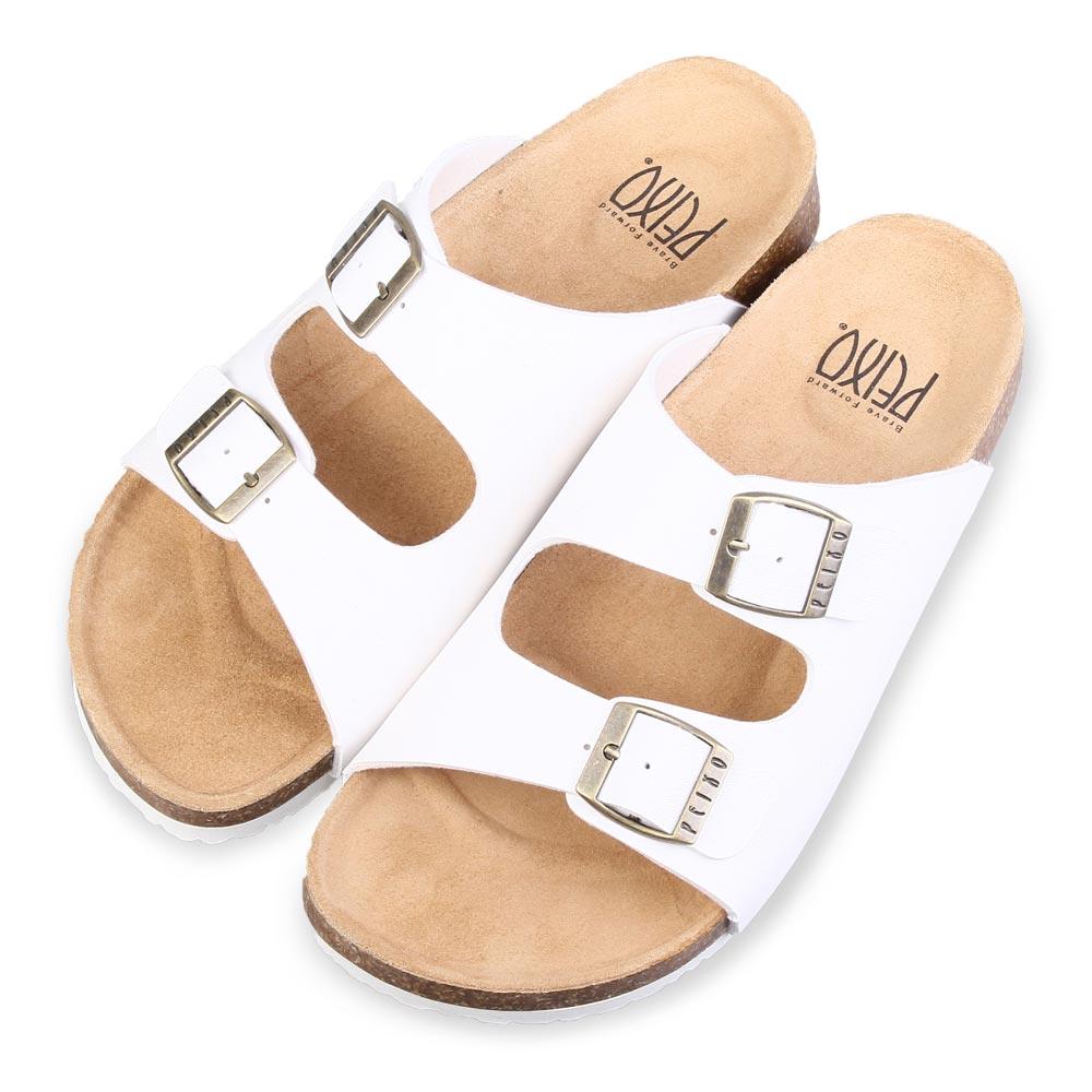 TTSNAP涼拖鞋-MIT真皮整體包覆足弓休閒涼拖鞋 白
