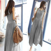 棉質修飾腰線圓領無袖長洋裝