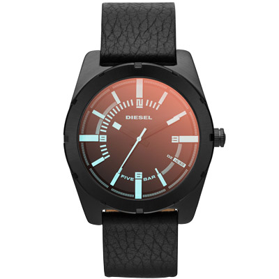 DIESEL 鐵血男兒個性休閒腕錶-黑/藍面/44mm