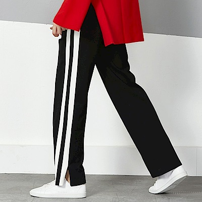 La Belleza鬆緊腰側邊粗條雙條紋滾白邊下擺開叉闊腿褲