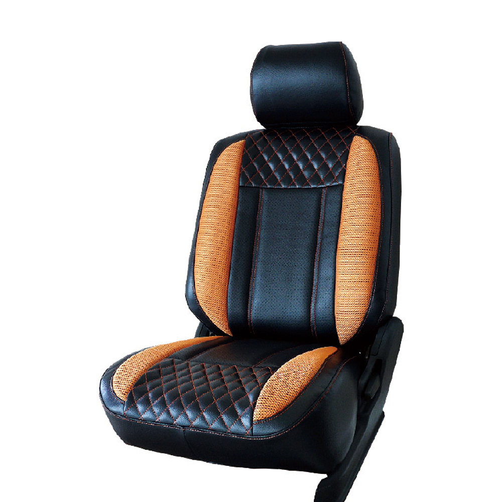 【葵花】量身訂做-汽車椅套-日式合成皮-展翅配色-A款-雙前座