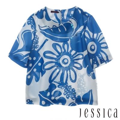 JESSICA-復古印花紋上衣(藍)