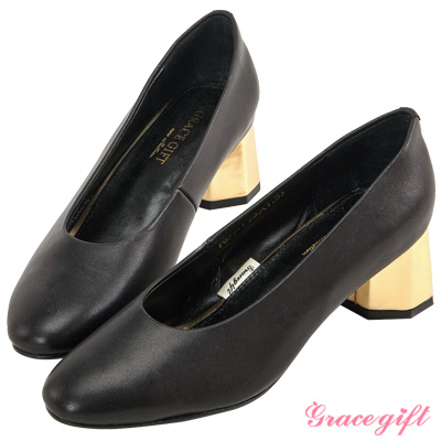 Grace gift-全真皮素面拼接造型中跟鞋 黑