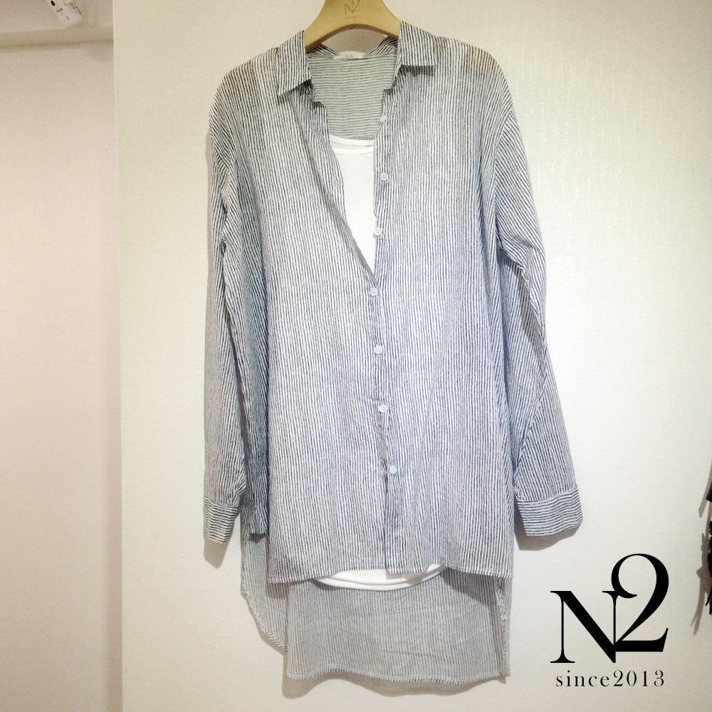 上衣 大寬長版直條紋襯衫(黑) N2