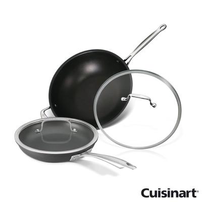 美國Cuisinart美膳雅不沾超硬陽極單柄煎鍋24cm+全方位炒鍋32cm