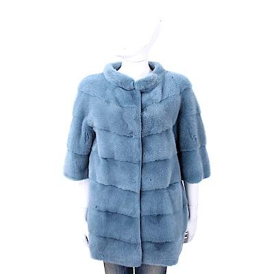 Manzoni 24 貂毛皮草漸層藏藍色立領大衣