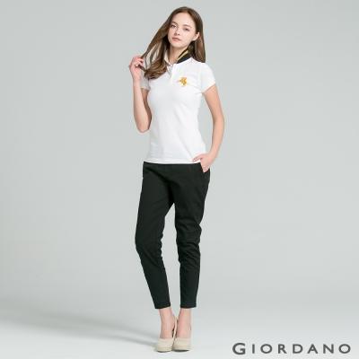 GIORDANO 女裝腰鬆緊修身休閒卡其褲- 09 標誌黑