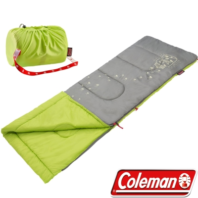 Coleman CM-22259_萊姆綠 夜光型兒童纖維睡袋/適溫7°C 露營睡袋/客廳毯