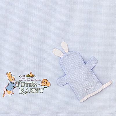 【奇哥】比得兔格紋紗布浴巾+手套 (2色選擇)