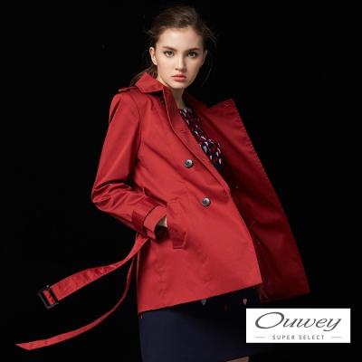 OUWEY歐薇 時尚簡約雙排釦風衣外套(紅)-動態show