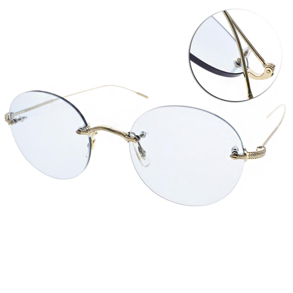 OLIVER PEOPLES太陽眼鏡 羽毛雕刻無框款/金-藍鏡片#KEIL 5236