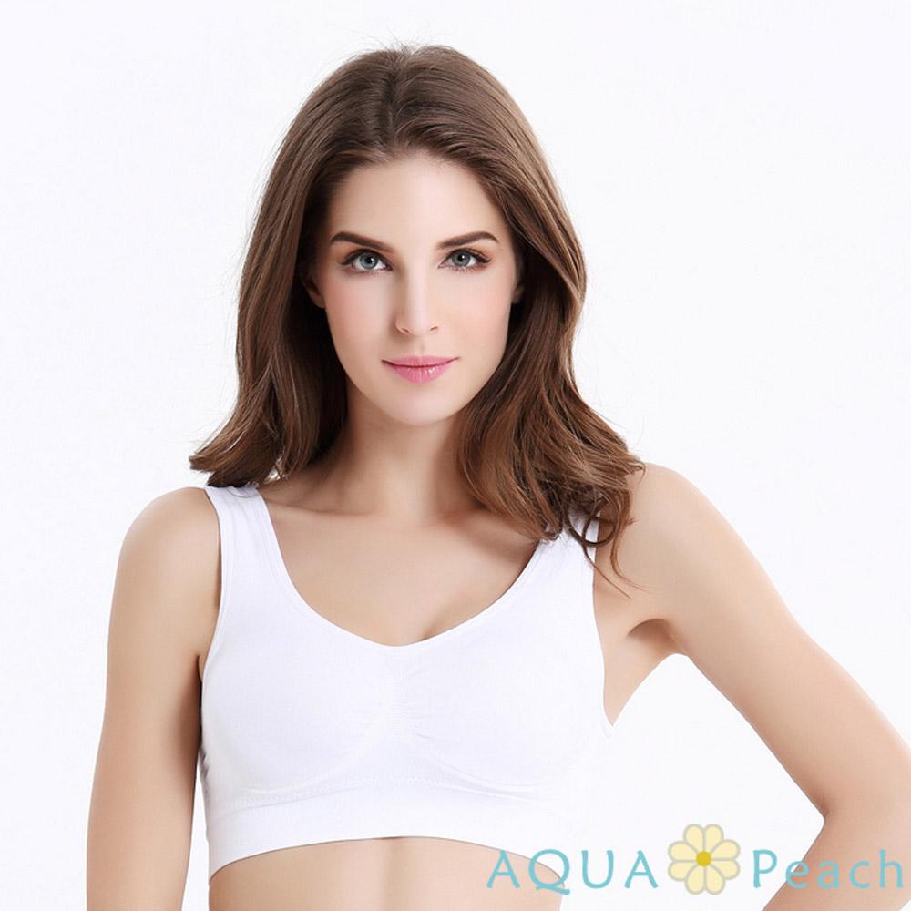 瑜珈 素面運動式內衣小背心 (白色)-AQUA Peach