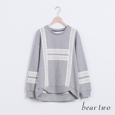 beartwo-落肩袖剪裁蕾絲織帶圓領上衣-二色