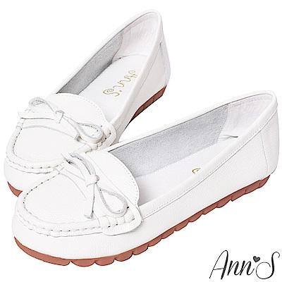 Ann'S優雅造型-細蝴蝶結牛皮平底娃娃鞋-白