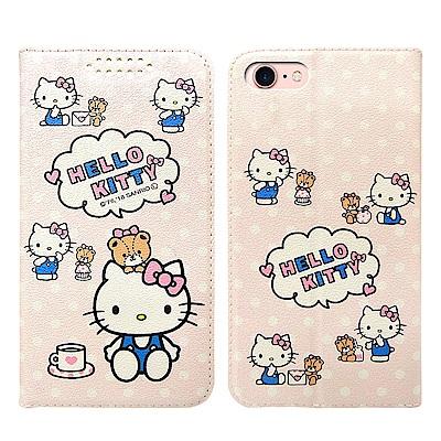 三麗鷗授權Hello Kitty貓 iPhone 8/7 粉嫩系列彩繪磁力皮套(小熊)
