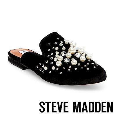 STEVE MADDEN-PEARLS-BLACK 絨面珍珠水鑽穆勒鞋-黑色