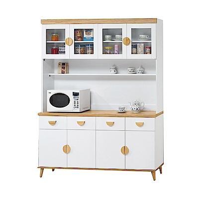 品家居 芬達5.4尺木紋雙色餐櫃組合-160.5x40x201.5cm免組