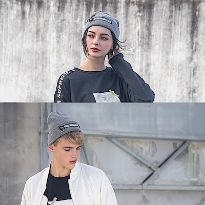 DADA SUPREME 潮流釦環裝飾毛帽-男女-灰