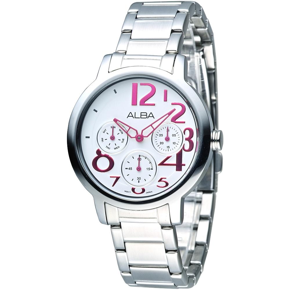 ALBA雅柏手錶 玩美時尚全日曆女錶-白(AP6049X1)/36mm 保固二年